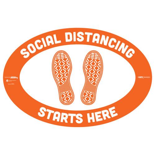"29003 - BeSafe Messaging ""Social Distancing Starts Here"" Footprints Oval Vinyl Floor Decal - 6/Pkg - Size 18"" x 12"""