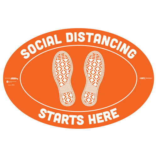 "29004 - BeSafe Messaging ""Social Distancing Starts Here"" Footprints Oval Vinyl Floor Decal  - 6/Pkg - Size 18"" x 12"""