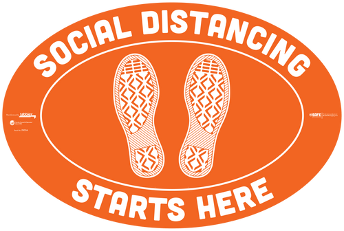 "29104 - BeSafe Messaging ""Social Distancing Starts Here"" Footprints Oval Vinyl Floor Decal  - 60/Case - Size 18"" x 12"""