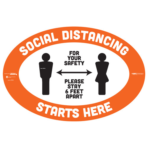 "29005 - BeSafe Messaging ""Social Distancing Starts Here. Stay 6 Feet Apart"" Oval Vinyl Floor Decal - 6/Pkg - Size 18"" x 12"""