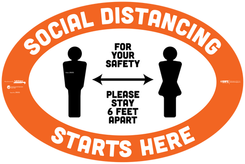 "29105 - BeSafe Messaging ""Social Distancing Starts Here. Stay 6 Feet Apart"" Oval Vinyl Floor Decal - 60/Case - Size 18"" x 12"""
