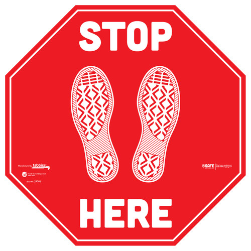 "29106 - BeSafe Messaging ""Stop Here"" Footprints Red Stop Sign Vinyl Floor Decal Social Distancing - 60/Case - Size 12"" x 12"""