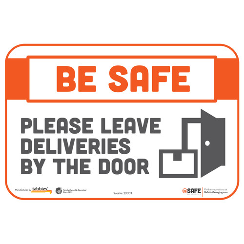 "29053 - BeSafe Messaging ""Please Leave Deliveries By The Door"" Repositionable Wall Decal - 3/Pkg  - Size 6"" x 9"""