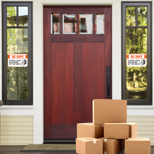"""29153 - BeSafe Messaging """"Please Leave Deliveries By The Door"""" Repositionable Wall Decal - 30/Case  - Size 6"""" x 9"""""""