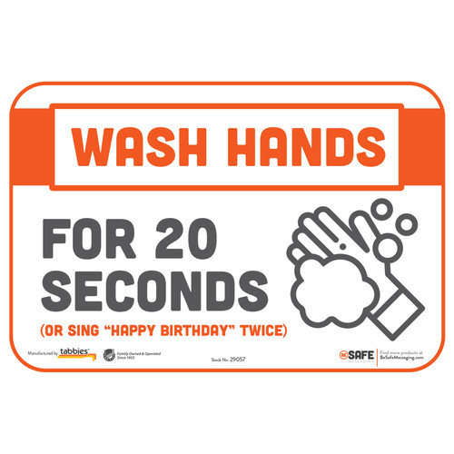 "29057 - BeSafe Messaging ""Wash Hands For 20 Seconds"" Repositionable Wall Decal - 3/Pkg  - Size 6"" x 9"""