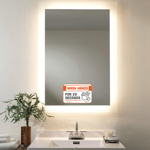"""29157 - BeSafe Messaging """"Wash Hands For 20 Seconds"""" Repositionable Wall Decal - 30/Case  - Size 6"""" x 9"""""""