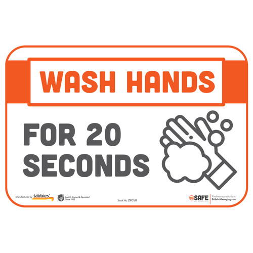 "29058 - BeSafe Messaging ""Wash Hands For 20 Seconds"" Repositionable Wall Decal - 3/Pkg  - Size 6"" x 9"""