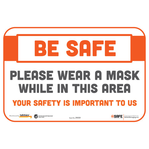 "29059 - BeSafe Messaging ""Please Wear a Mask While in This Area"" Repositionable Wall Decal - 3/Pkg  - Size 6"" x 9"""