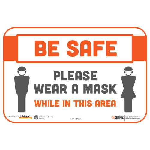 "29060 - BeSafe Messaging ""Please Wear a Mask While in This Area"" Repositionable Wall Decal - 3/Pkg  - Size 6"" x 9"""