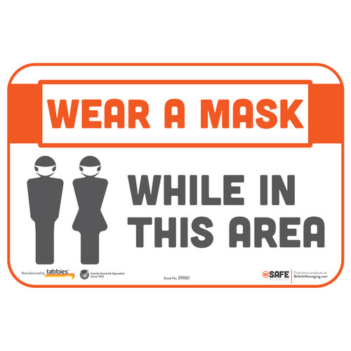 "29061 - BeSafe Messaging ""Please Wear a Mask While in This Area"" Repositionable Wall Decal - 3/Pkg  - Size 6"" x 9"""
