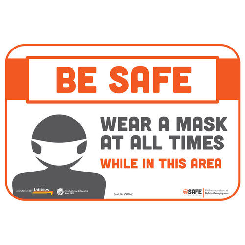 "29062 - BeSafe Messaging ""Wear a Mask At All Times"" Repositionable Wall Decal - 3/Pkg  - Size 6"" x 9"""