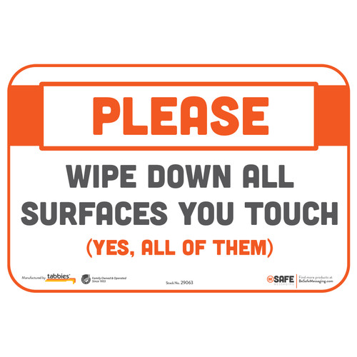 "29063 - BeSafe Messaging ""Please Wipe Down All Surfaces You Touch"" Repositionable Wall Decal - 3/Pkg  - Size 6"" x 9"""