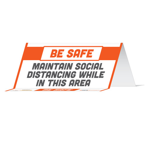 "29132 - BeSafe Messaging ""Maintain Social Distancing While In This Area"" Reusable Table Card Tent Signs  -  100/Case  - Size 8"" x 3.875"""