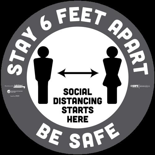 "Tabbies 29251 - BeSafe Messaging Commercial ""Stay 6 Feet Apart"" Social Distancing Circle Vinyl Floor Decal For Carpet - 12""x12"" - 10Pkg/Case"