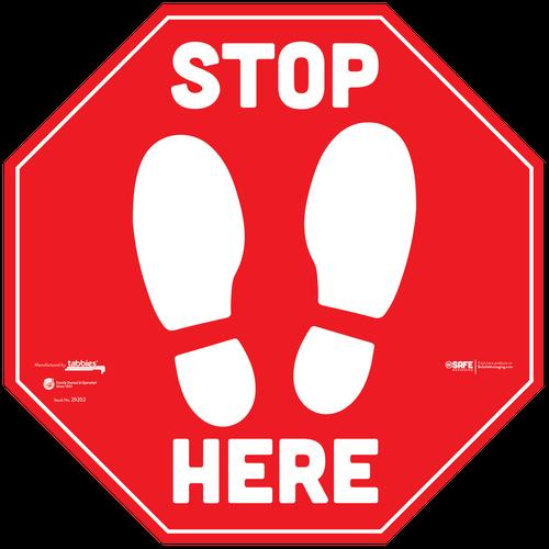 "Tabbies 29202 - BeSafe Messaging Commercial ""Stop Here"" Footprints Red Stop Sign Vinyl Floor Decal Social Distancing For Carpet - 12""x12"" - 6/Pkg"