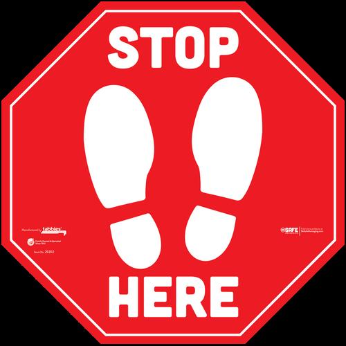 "Tabbies 29252 - BeSafe Messaging Commercial ""Stop Here"" Footprints Red Stop Sign Vinyl Floor Decal Social Distancing For Carpet - 12""x12"" - 10Pkg/Case"