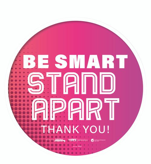 "Tabbies 79023 - BeSafe Messaing Food Service"" Be Smart Stay Apart"" General Pink Dots Circle Vinyl Floor Decal - 12""x12"" - 6/Pkg"
