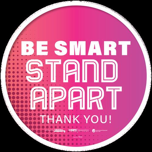 "Tabbies 79123 - BeSafe Messaing Food Service"" Be Smart Stay Apart"" General Pink Dots Circle Vinyl Floor Decal - 12""x12"" - 10Pkg/Case"