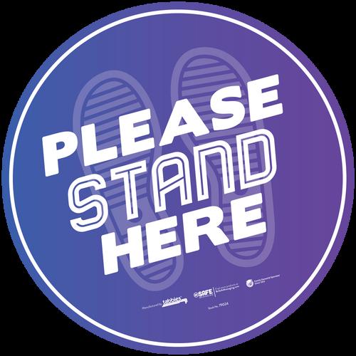 """Tabbies 79024 - BeSafe Messaing Food Service """"Please Stand Here"""" General Purple Footprints Circle Vinyl Floor Decal - 12""""x12"""" - 6/Pkg"""