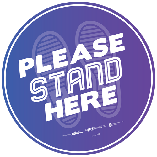 """Tabbies 79124 - BeSafe Messaing Food Service """"Please Stand Here"""" General Purple Footprints Circle Vinyl Floor Decal - 12""""x12"""" - 10Pkg/Case"""