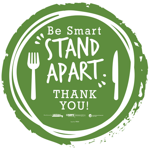 "Tabbies 79061 - BeSafe Messaing Food Service ""Be Smart Stay Apart"" Food Service Green Silverware Circle Vinyl Floor Decal - 12""x12"" - 6/Pkg"