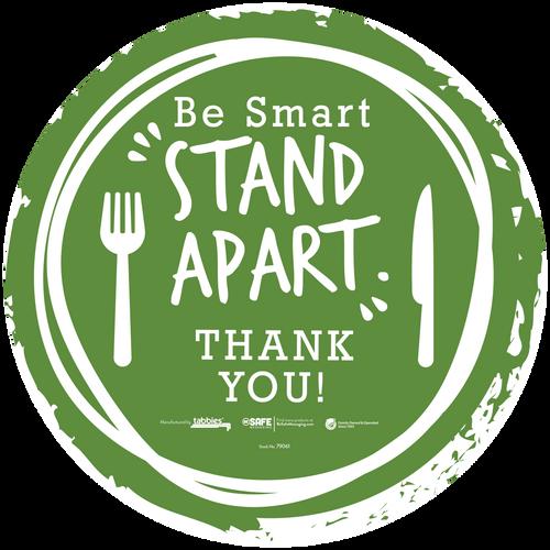 "Tabbies 79161 - BeSafe Messaing Food Service ""Be Smart Stay Apart"" Food Service Green Silverware Circle Vinyl Floor Decal - 12""x12"" - 10Pkg/Case"