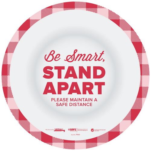 """Tabbies 79163 - BeSafe Messaing Food Service """"Be Smart Stay Apart"""" Food Service Red/White Checkered Circle Vinyl Floor Decal - 12""""x12"""" - 10Pkg/Case"""