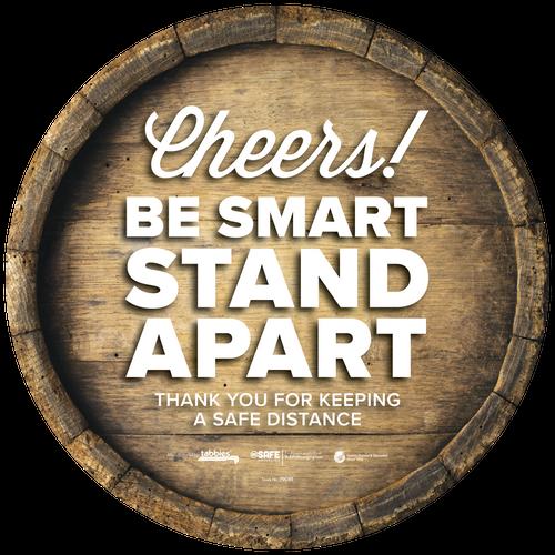 "Tabbies 79181 - BeSafe Messaing Food Service ""Cheers! Be Smart Stay Apart"" Food Service Barrell Circle Vinyl Floor Decal - 12""x12"" - 10Pkg/Case"