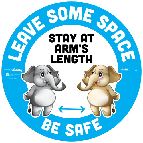 "Tabbies 29612 - BeSafe Messaging ""Leave Some Space Be Safe"" Blue Elephant Circle Floor Decal - 12""x12"" - 10Pkg/Case"