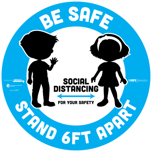 "Tabbies 29513 - BeSafe Messaging ""Be Safe Social Distancing Stay 6 Feet Apart"" Blue Young Boy & Girl Silhoutte Circle Floor Decal - 12""x12"" - 6/Pkg"