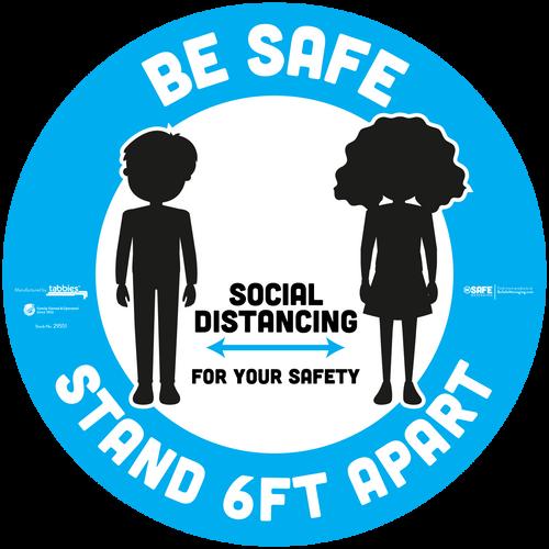 "Tabbies 29551 - BeSafe Messaging ""Be Safe Social Distancing Stay 6 Feet Apart"" Blue Boy & Girl Silhoutte Circle Floor Decal - 12""x12"" - 6/Pkg"