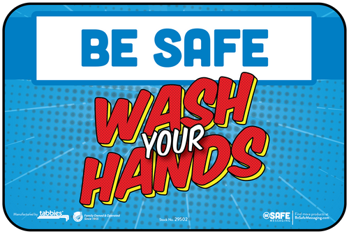 "Tabbies 29602 - BeSafe Messaging ""Wash Your Hands"" Superhero Theme Wall Decal - 6"" x 9""  - 10Pkg/Case"