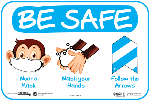 "Tabbies 29606 - BeSafe Messaging ""Wear A Mask, Wash Your Hands, Follow Arrows"" Monkey Wall Decal - 6"" x 9""  - 10Pkg/Case"