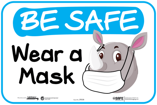 "Tabbies 29608 - BeSafe Messaging ""Wear A Mask"" Rhino Wall Decal - 6"" x 9""  - 10Pkg/Case"