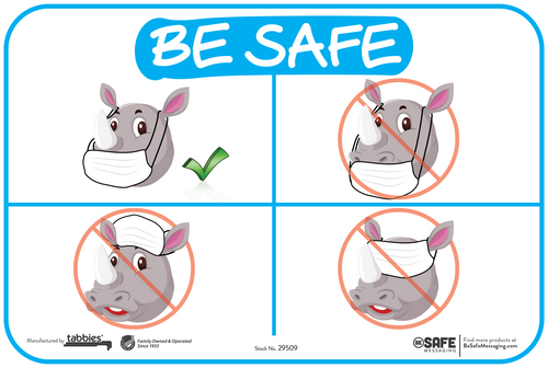 "Tabbies 29509 - Besafe Messaging How To Wear A Mask Rhino Wall Decal - 6"" x 9""  - 3/Pkg"