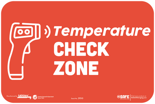 "Tabbies 29610 - BeSafe Messaging ""Temperature CHECK ZONE"" Red Wall Decal - 6"" x 9""  - 10Pkg/Case"