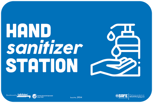 "Tabbies 29514 - BeSafe Messaging ""HAND sanitizer STATION"" Blue Wall Decal - 6"" x 9""  - 3/Pkg"