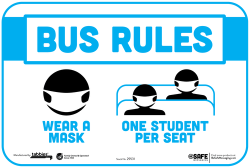 "Tabbies 29531 - BeSafe Messaging ""Bus Rules, Wear A Mask, One Student Per Seat"" Wall / Seat Decal - 6"" x 9""  - 3/Pkg"