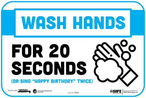 """Tabbies 29641 - BeSafe Messaging """"Wash Your Hands For 20 Seconds (Or Sing """"Happy Birthday"""" Twice"""" Wall Decal - 6"""" x 9""""  - 10Pkg/Case"""