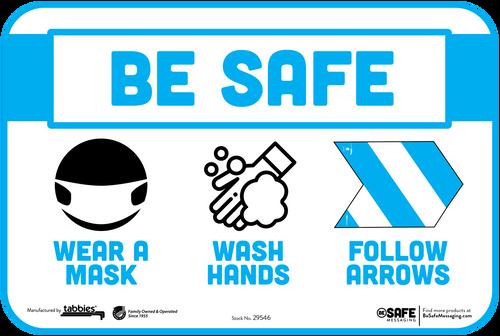"Tabbies 29646 - BeSafe Messaging ""Wear A Mask, Wash Your Hands, Follow Arrows"" Wall Decal -  6"" x 9""  - 10Pkg/Case"