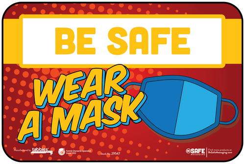 "Tabbies 29547 - BeSafe Messaging ""Wear A Mask"" Superhero Theme Wall Decal - 6"" x 9""  - 3/Pkg"