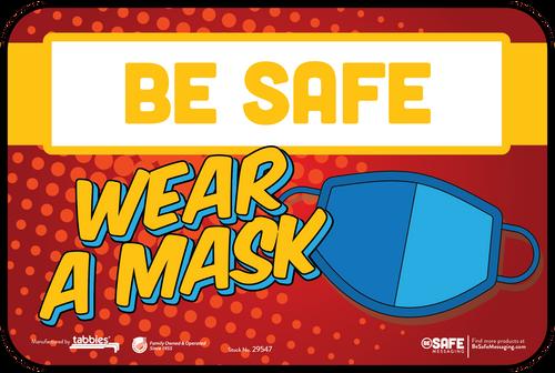 """Tabbies 29647 - BeSafe Messaging """"Wear A Mask"""" Superhero Theme Wall Decal -  6"""" x 9""""  - 10Pkg/Case"""