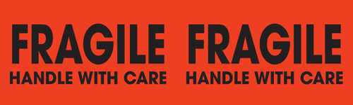 "Tabbies 43578 - FRAGILE HANDLE WITH CARE - FL RED - 3"" X 10"" - 250/ROLL"
