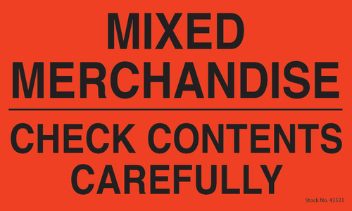 "Tabbies 43531 - MIXED MERCHANDIZE / CHECK CONTENTS CAREFULLY - FL RED - 3"" X 5"" - 500/ROLL"