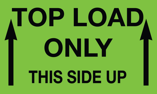"""Tabbies 43582 - TOP LOAD ONLY THIS END UP (2 ARROWS) - FL GREEN - 3"""" X 5"""" - 500/ROLL"""