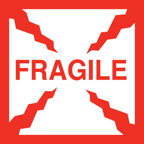 "Tabbies 43577 - FRAGILE - WHITE/RED - 4"" X 4"" - 500/ROLL"