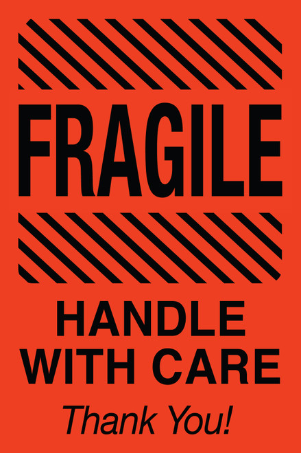 "Tabbies 43575 - FRAGILE HANDLE WITH CARE THANK YOU! - FL RED - 4"" X 6"" - 500/ROLL"