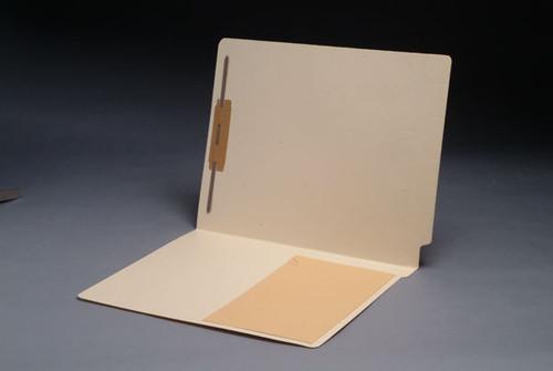 Pocket Folder with 1/2 Kraft Material Pocket on inside front - 11 Pt. Manila Folder - Full Cut End Tab, Letter Size, Fastener in Position 1 - 50/Box