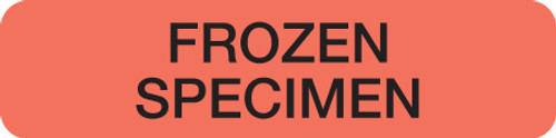 """FROZEN SPECIMEN"" LABEL -  FL. RED - 1-1/4"" X 5/16"" - 250/BOX"