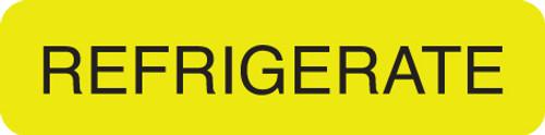 """REFRIGERATE"" LABEL - FL. YELLOW - 1-1/4"" X 5/16"" - 250/BOX"
